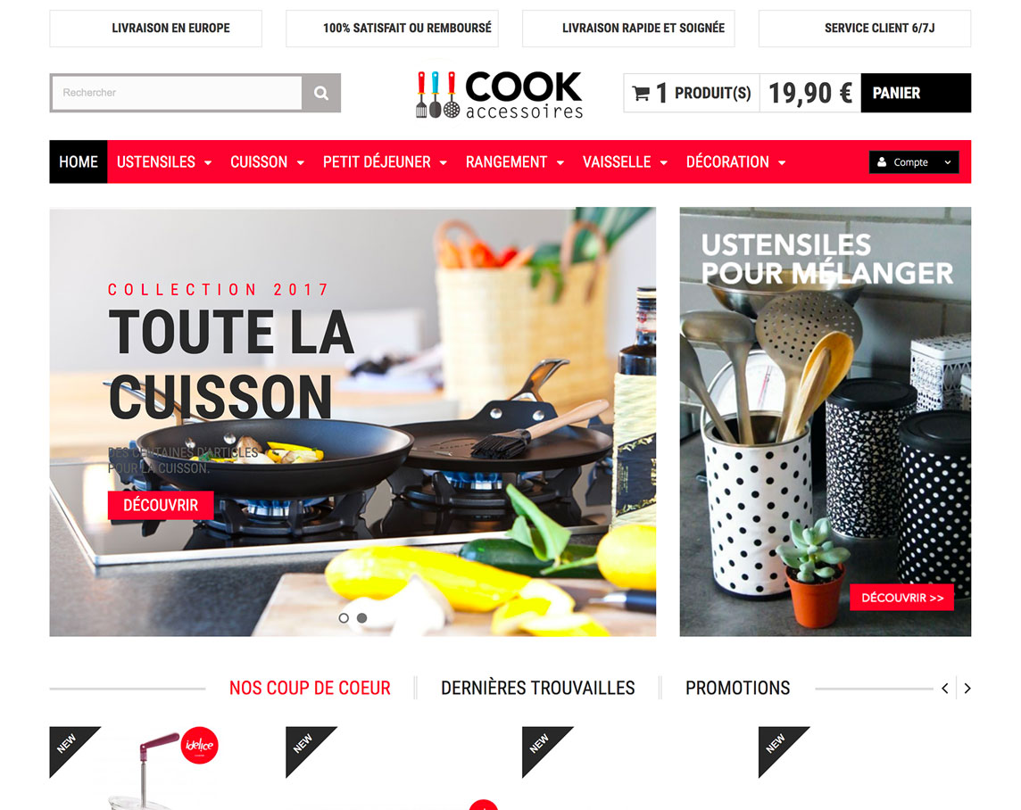 Ustensile cuisine en dropshipping cr ation site e for Site cuisine
